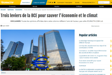 Trois leviers de la BCE pour sauver l'économie et le climat